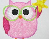 ON SALE Summer Owl 02 Machine Applique Embroidery Design - 4x4, 5x7 & 6x8