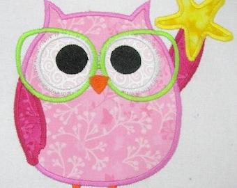 ON SALE Summer Owl 02 Machine Applique Embroidery Design - 4x4, 5x7 & 6x8