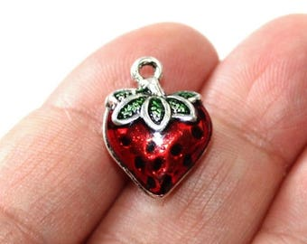 15% OFF - 4 Strawberry Enamel Charms 2 Sided - EN136