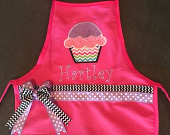 Childs Pink Personalized Cupcake Apron, Girl Child Apron, Embroidered Girls Apron, Kids Personalized Apron