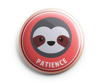 Merit Badge - Sloth, Pinback button, Patience, Children badges, Illustration. Honour badges