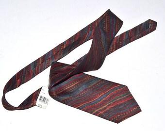 Vintage Tundra neckwear tie  wedding burgundy orange silk tie vegan gift for him NWT NOS
