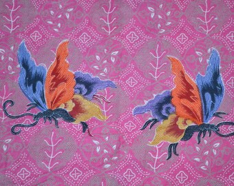 Vintage floral fabric butterflies  flowers Enchanted Garden Batik fabric pink green Kelawa fabric 2 yards quilt fabric roses daisies