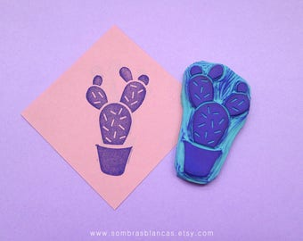 Cactus Rubber Stamp - Hand Carved Rubber Stamp – Scrapbooking Stamp – Card Making – DIY Stationery - Journal Stamp - Printmaking