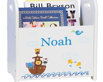 Personalized Noahs Ark White Book Caddy and Rack Religious Ship Animals Bible Biblical Christening Baptized Baptism cadd-209