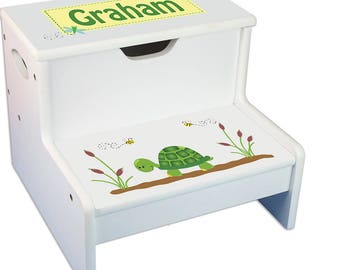 turtle white childrens step stool with storage greens yellow mint sage lime turtle camping step - Childrens Step Stool