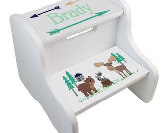 Personalized North Woodland Critters White Two Step Stool Moose Cabin Arrow Arrows Green Brown fixe-whi-218C