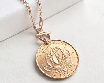51st Birthday Gift for Women, 1967 Half Penny Necklace, Rose Gold Necklace, Toggle Necklace, Birthyear Necklace, Coin Necklace, Gift for Her