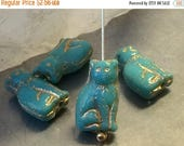 ON SALE Czech Seated Cat Bead 15mm Opaque Turquoise Gold Wash Qty 4