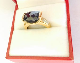 Blue Sapphire Color Ring Size 5., Gold over Sterling Silver, CZ, Stamped .925, HALF OFF Sale, Item No. B047