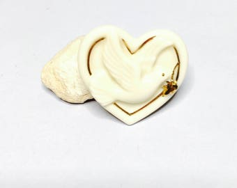 Vintage peace Dove pin/brooch , Marked Lenox, porcelain, Gold trimming, Clearance Sale, Item No. B341