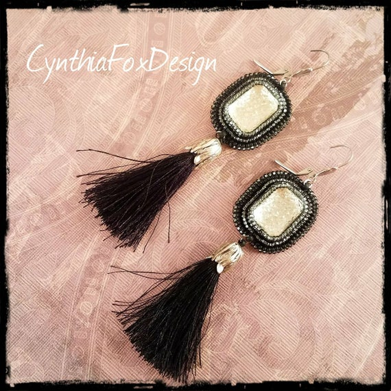 Vintage Crystal Sugar Glass Earrings with Long Black Silky Tassels