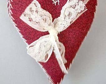 One Hand-Embroidered Red Heart Decoration for Valentine's Day