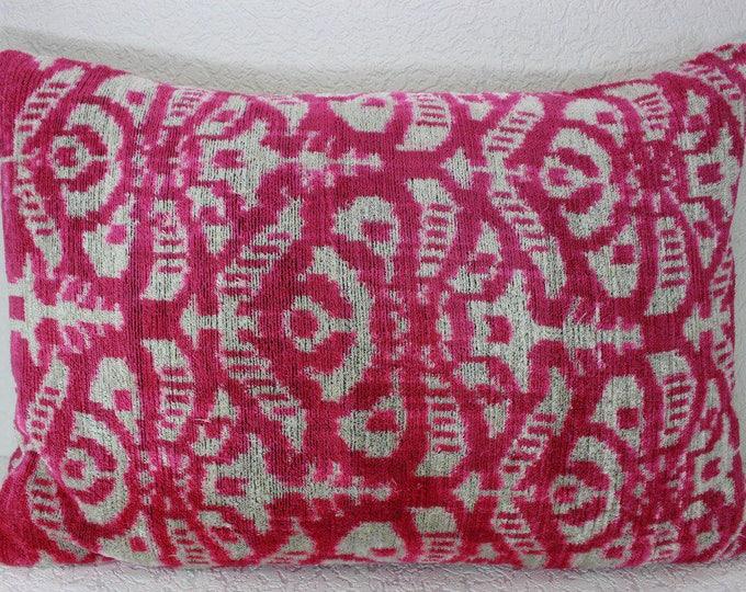 Silk Velvet Ikat Pillow Cover Lp405, Bohemian pillow, Velvet Ikat Pillow, Velvet Pillow, Velvet Pillow Cover, Ikat Pillows, Throw Pillows