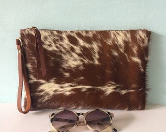 Brown and white cowhair leather clutch, cow hair wristlet, brown leather purse, evening bag