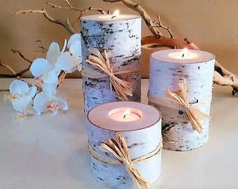 3 Birch candles - Christmas candles - Birch candle holder - Holiday candles - Birch logs - Wedding candles  - Wood candles