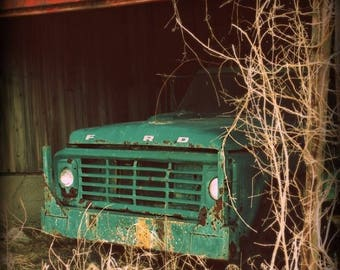Christmas in July Ford Truck Photo, Vintage Car Photography, Man Cave Print, Country Rustic Barn Farmhouse Picture, Home Decor Wall Art, Aqu