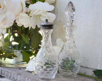 Antique Cut Glass Crystal Cruet Bottles, Cottage Chic or French Country Decor, Antique Photo Props
