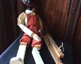 Black Americana Al Jolson Puppinett Doll in original box Marionette