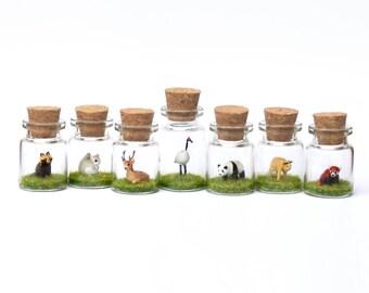 Asian Wildlife Collection - Miniature Bottle Decor, Animal in a Jar - Giant Panda, Red Panda, Golden Takin, Crane, Deer, Tanuki, Squirrel