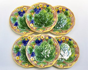 Vintage Majolica Salad/Dessert Plates, set of 6, Mottahedeh Museum Reproductions, Italy