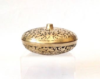 Etched Brass Bowl with Lid, Korea