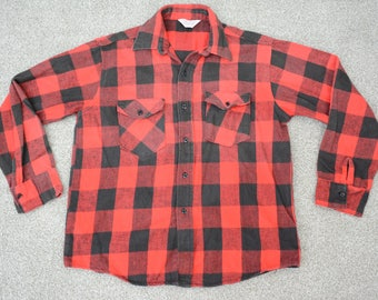 Vintage Large Frostproof 100% Cotton Flannel Shirt - Mens Long Sleeve Button Down - Red and Black Plaid, Winter Wear, Hunter Fashion