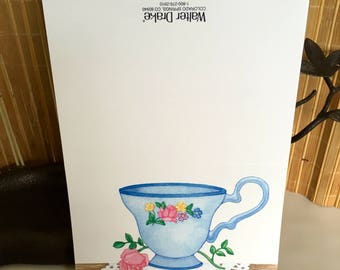 """Vintage 80's  """"TEACUP STATIONERY"""" Note Cards by Walter Drake"""