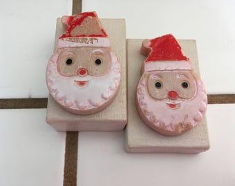 "Vintage 50's  ""SANTA SOAP BARS""  Sweet & Smiley Faced Santa"