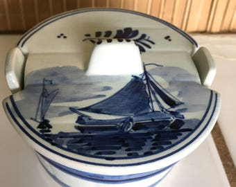"""Vintage 50's """"DELFT SUGAR BOWL""""  in Blue and Cream - Sugar Bowl Dish in a Barrell Look with Lid"""
