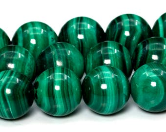 "8MM Malachite Beads South Africa Grade AAA Genuine Natural Gemstone Full Strand Round Loose Beads 14"" BULK LOT 1,3,5,10 and 50 (101765-414)"