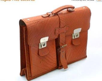 SALE 20% off Leather briefcase, Brown messenger bag, Vintage School Bag, Strong University College Book Bag, Attache work briefcase, laptop