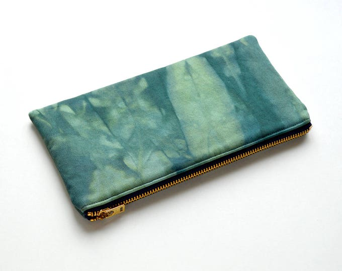 SALE - Shibori Pouch - Deep Forest Green