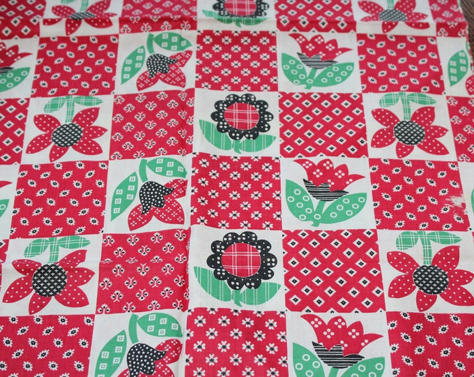 Vintage Fabric Panel Red Floral Country Look Rustic Farmhouse 35 x 35