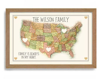 Long Distance Family Etsy - State map of usa