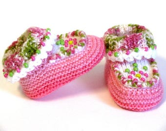 Pink and Green Camo Beaded Moccasin Booties