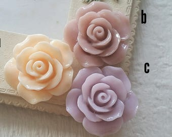 23 mm Peach/ Light purple / Old Rose Colour  Rose Resin Flower Cabochons(.si)