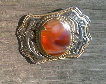 Vintage Agate Stone Goldtone Metal Belt Buckle