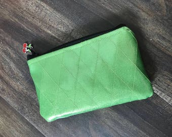 Lime Green Diamond Tufted Sparkle Vinyl Change Purse