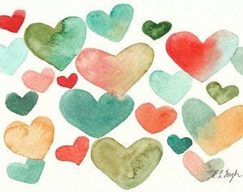 Watercolor Hearts Nursery Art, hearts painting, baby shower gift, mint and coral hearts, original watercolor painting, 5x7, valentines art