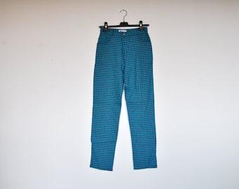 Vintage Baby Blue Plaid High Waist Grunge Pants