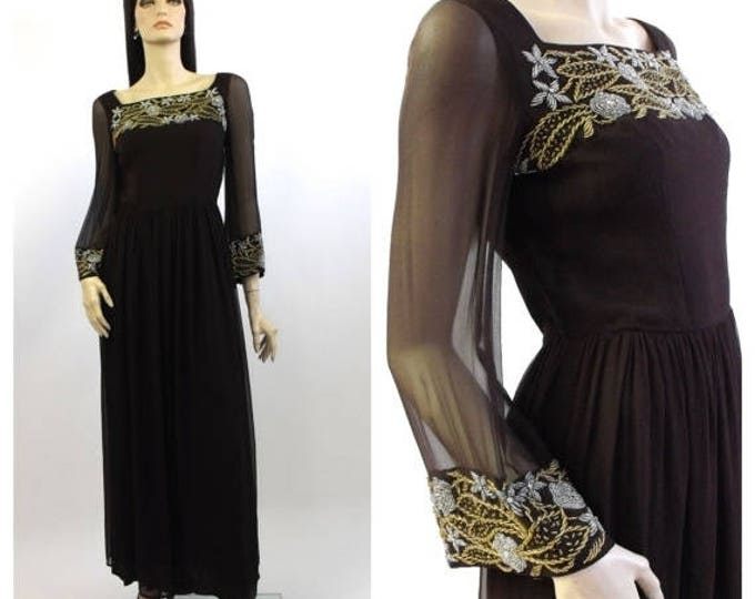 SUMMER SALE 1950's Grecian Style Chocolate Brown Silk Chiffon Beaded Evening Gown // Vintage Silk Gown // Embellished Silk Gown