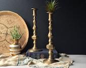 Vintage LARGE PAIR Brass Candlestick Holders, Hollywood Regency Candle Stick Pair, Vintage Mid Century Candleholders, Boho Glam Boho Wedding