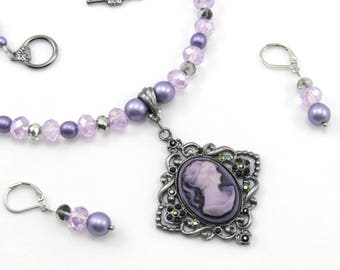 Cameo Pendant, Purple Beaded Necklace and Earrings Set, Women's Jewelry Set, Victorian