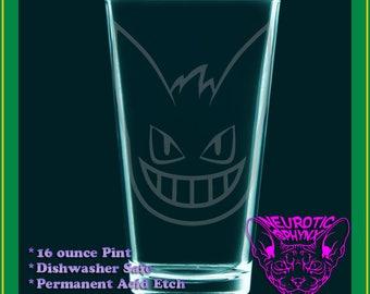 Gengar - pokemon fanart drinking glass, tumbler, Ghost-type gift - etched pint