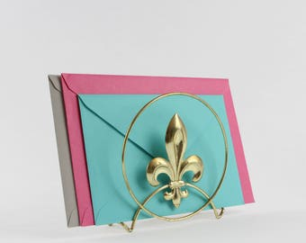 Vintage Fleur De Lis Napkin Holder - French Gold Tone Cutout Design Letter Holder Desk Organizer
