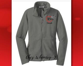 Nurse Jacket, Monogrammed RN Fleece Jacket, Embroidered Stethoscope, Full Zip Fleece Jacket, Personalized Jacket, Heart Stethoscope Monogram
