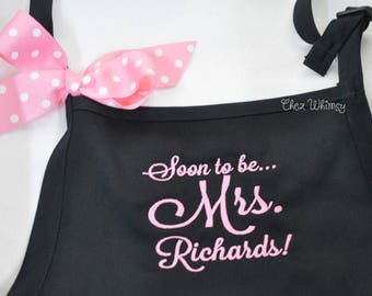 Personalized Aprons, Mrs. Apron, Soon to Be Apron, Bridal Shower Gift, Bride Apron, Monogrammed Apron, Custom Apron with Bow