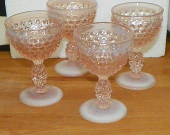 Vintage Fenton Pink  Glass SHERRY CORDIAL Glass Hobnail Goblet tumbler set opal opalescent