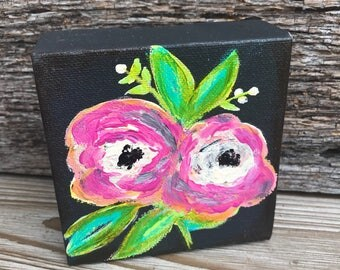 Painted Flowers on 4x4 Canvas - Valentine Gift - Mother's Day